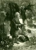 Old man in cemetery. Etching