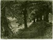 Evening in Albano near Rome. Etching
